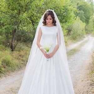 Diamond white wedding veil- cathedrial 120 length